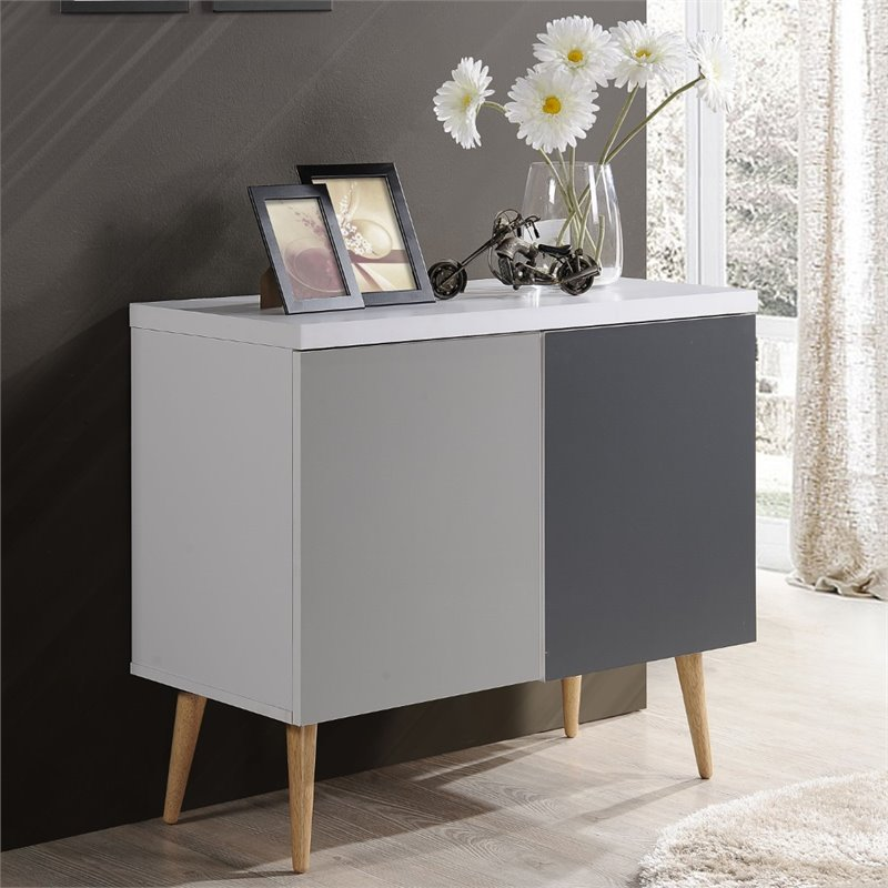 Hodedah Entry Way Accent Table in White Gray