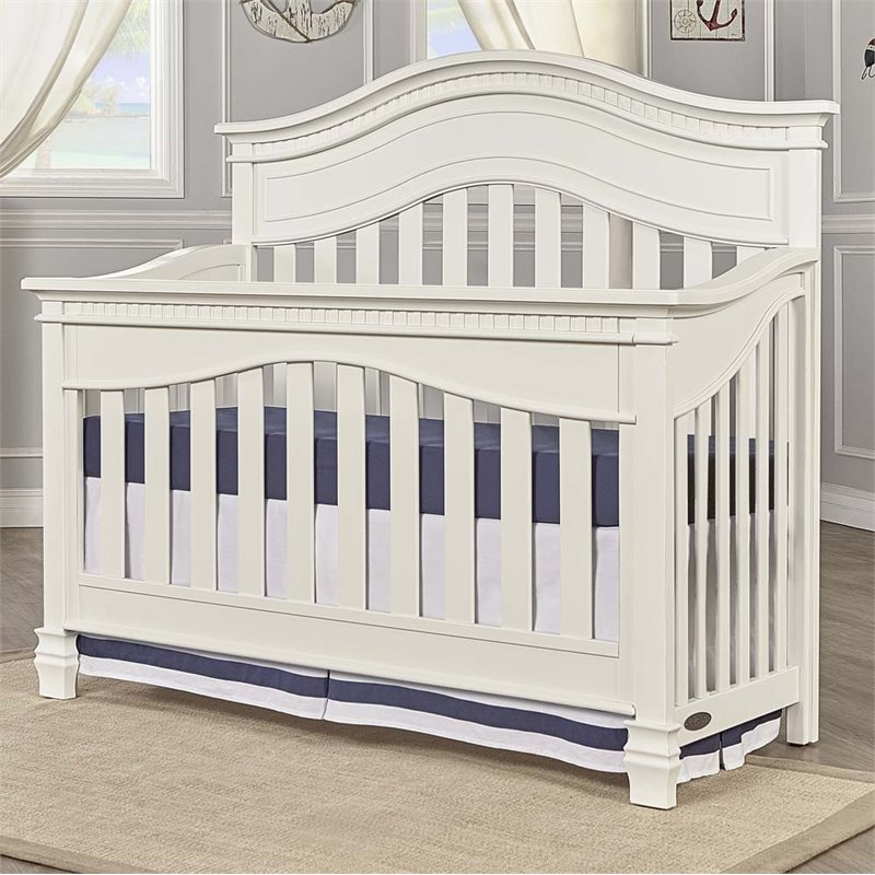 Evolur Cheyenne 5 In 1 Convertible Crib In Distressed White