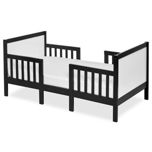 Dream On Me Hudson 3 in 1 Convertible Toddler Bed in Black and White