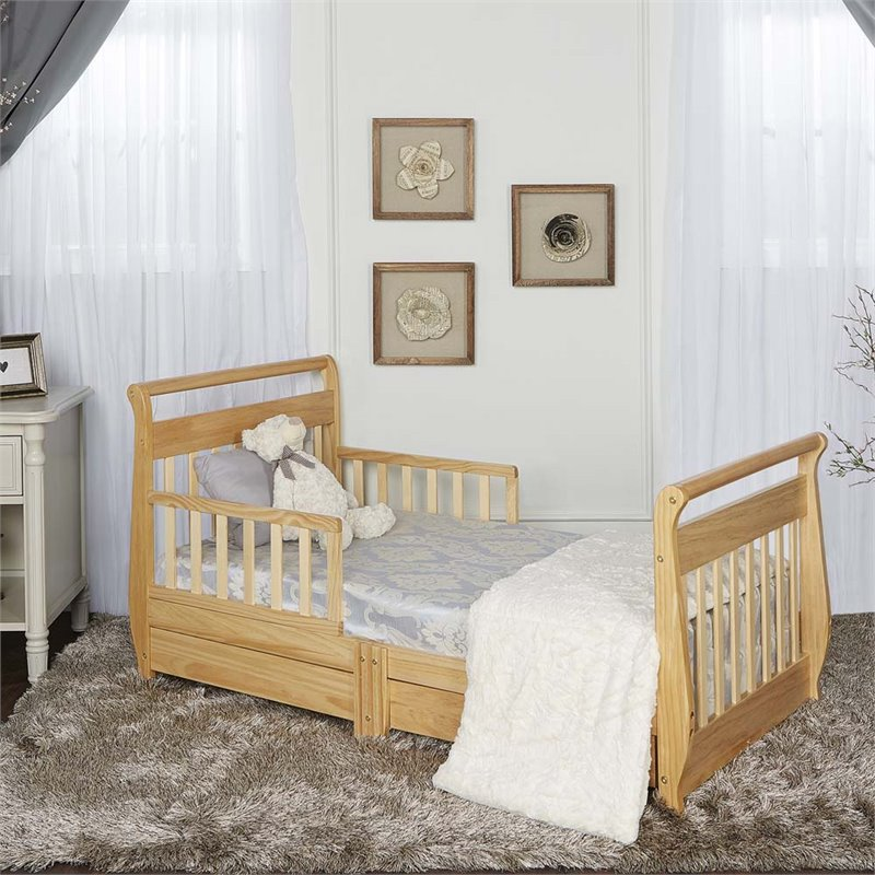 Dream on me sleigh toddler bed with storage drawer in for Beds n dreams