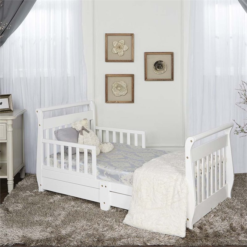 Dream On Me Sleigh Toddler Bed With Storage Drawer In