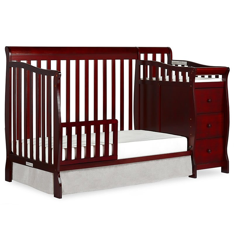 Dream On Me Brody 5-in-1 Convertible Crib with Changer in Cherry - 620-C