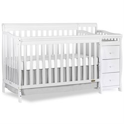 Dream On Me Brody 5-in-1 Convertible Crib with Changer in White