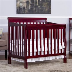 Dream On Me Aden Convertible 4-in-1 Mini Crib in Cherry
