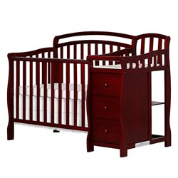 Dream On Me Casco 4-in-1 Mini Crib and Changing Table in Cherry