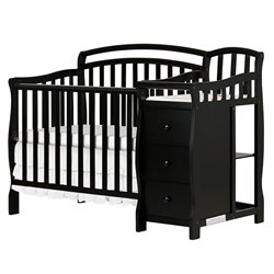 Dream On Me Casco 4-in-1 Mini Crib and Changing Table in Black