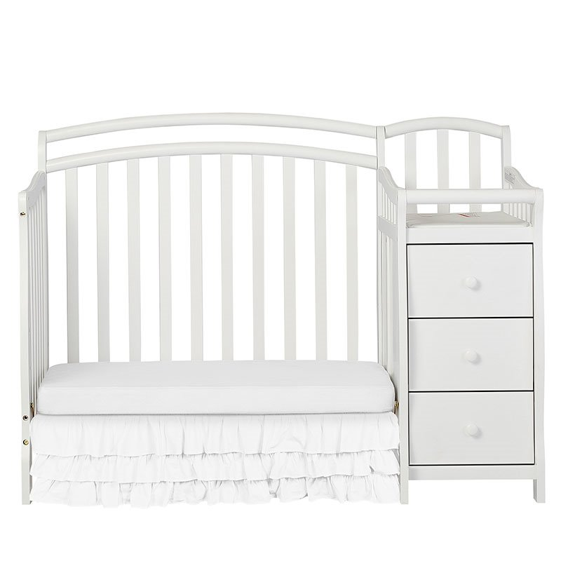 Dream On Me Casco 4in1 Mini Crib and Changing Table in White 630W