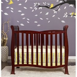 Dream On Me Piper 4-in-1 Convertible Mini Crib in Cherry