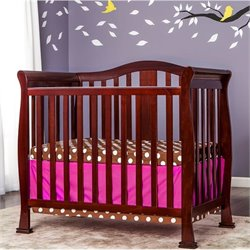 Dream On Me Naples 4-in-1 Convertible Mini Crib in Cherry
