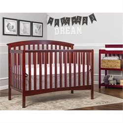 Dream On Me Eden 5-In-1 Convertible Crib in Cherry