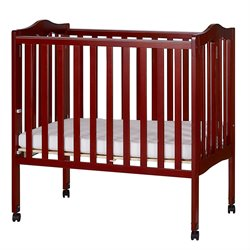 Dream On Me Lightweight Folding Portable Crib in Cherry