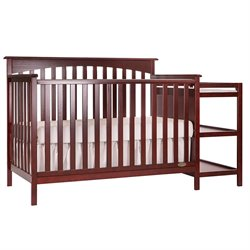 Dream On Me Chloe 5 In 1 Convertible Crib With Changer In Cherry
