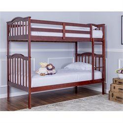 Dream On Me Cody 2-In-1 Twin Over Twin Bunk Bed In Mahogany