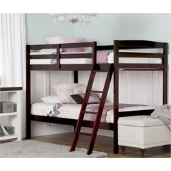 Dream On Me Taylor Twin Over Twin Bunk Bed in Mahogany