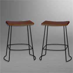 Carolina Classics Aryan Saddle Seat Bar Stool in Chestnut and Black (Set of 2)