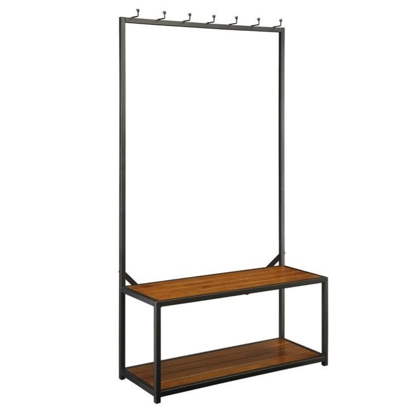 Carolina Classic Nora Metal Coat Rack Bench In Black Cf4016