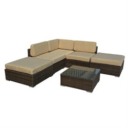 The-Hom Barton 6 Piece Wicker Patio Sectional Sofa Set in Dark Brown