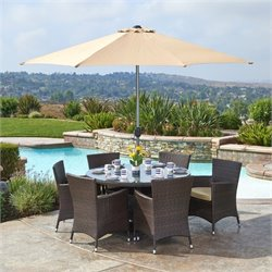 The-Hom Caso 8 Piece Wicker Patio Dining Set in Beige