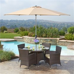 The-Hom Gita 6 Piece Wicker Patio Dining Set in Beige