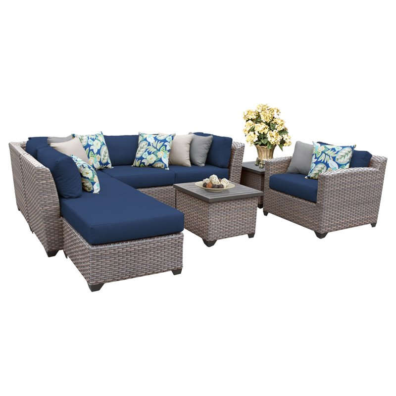 TKC Florence 8 Piece Patio Wicker Sofa Set in Navy - FLORENCE-08g-NAVY