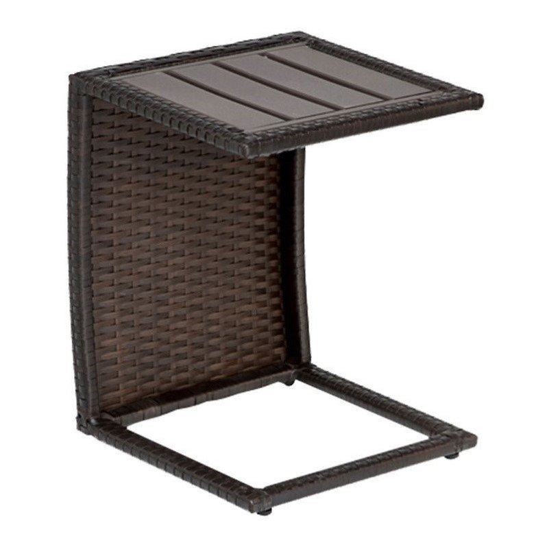 Tkc outdoor wicker side table in espresso tkc206b st for Outdoor furniture end tables
