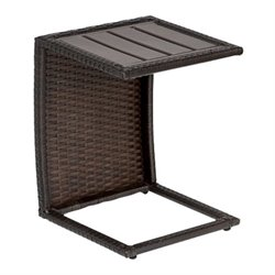 TKC Outdoor Wicker Side Table in Espresso