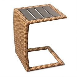 TKC Laguna Outdoor Wicker Side Table in Caramel