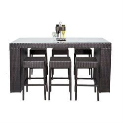 TKC Napa 7 Piece Wicker Patio Pub Set in Espresso
