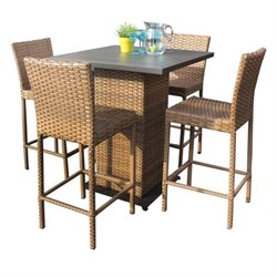 TKC Laguna 5 Piece Wicker Patio Pub Set in Caramel