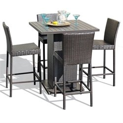 TKC Napa 5 Piece Wicker Patio Pub Set in Espresso
