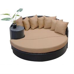 TKC Newport Outdoor Wicker Circular Daybed in Wheat
