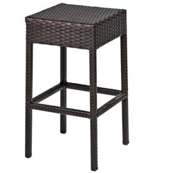 TKC Napa Backless Outdoor Wicker Bar Stools in Espresso (Set of 2)