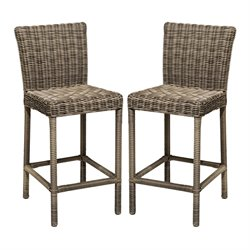 TKC Cape Cod Outdoor Wicker Bar Stools in Vintage Stone (Set of 2)