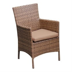 TKC Laguna Wicker Patio Arm Dining Chairs in Wheat (Set of 2)