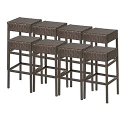 TKC Napa Backless Outdoor Wicker Bar Stools in Espresso (Set of 8)