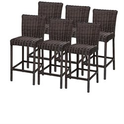 TKC Venice Outdoor Wicker Bar Stools in Chestnut Brown