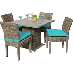TKC Cape Cod Square 5 Piece Wicker Patio Dining Set in Aruba