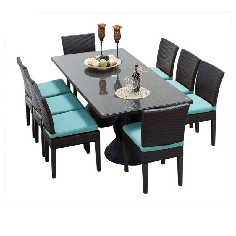 Tkc napa 9 piece wicker patio dining set in aruba napa for Jardin 8 piece dining set