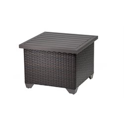 TKC Barbados Patio Wicker End Table in Espresso