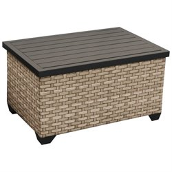 TKC Monterey Outdoor Wicker Storage Coffee Table in Summer Fog