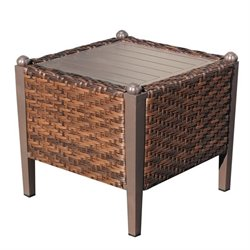 TKC Carmel Patio Wicker End Table in Toasted Pecan