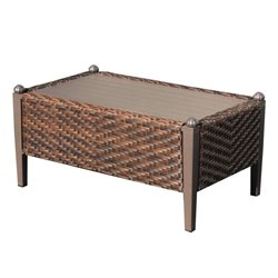 TKC Carmel Outdoor Wicker Rectangle Coffee Table in Toasted Pecan