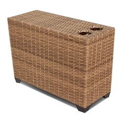 TKC Laguna Patio Wicker Cup Table in Caramel
