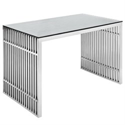 Modway Gridiron Steel Office Desk in Silver