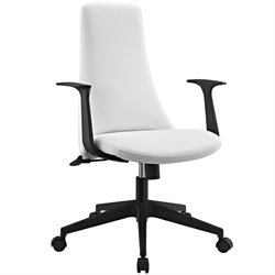 Modway Fount Vinyl Mid Back Office Chair in White