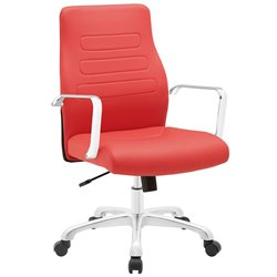 Modway Depict Mid Back Swivel Office Chair in Red