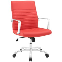 Modway Finesse Mid Back Swivel Office Chair in Red
