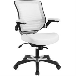 Modway Edge Faux Leather Mesh Office Chair in White
