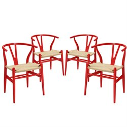 Modway Amish Dining Arm Chair in Red (Set of 4)