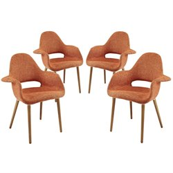 Modway Aegis Dining Arm Chair in Orange (Set of 4)